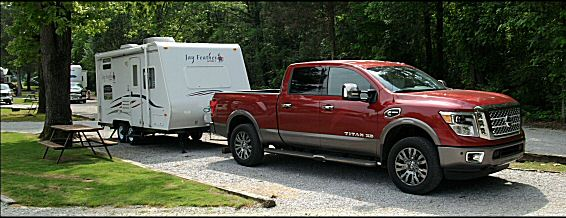 Nissan Titan XD Jay Feather Camper recreational vehicle travelers